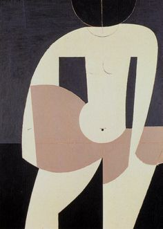 "amare-habeo: "" Yiannis Moralis (Greek, Girl going into the sea, 1974 Oil on canvas, 116 x 85 cm "" Oil On Canvas, Canvas Prints, Greek Art, Old Art, Abstract Shapes, Gravure, Sculpture, Figure Painting, Contemporary Paintings"