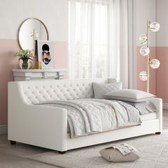 DHP Jordyn Upholstered Daybed Multiple Colors - Walmart.com - Walmart.com White Daybed, Daybed With Trundle, White Bedding, Small Space Living, Living Spaces, Living Room, Studio Living, Upholstered Daybed, Sofa Daybed