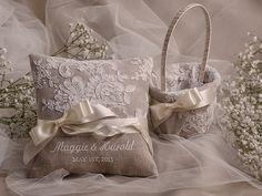 Flower Girl Basket & Ring Bearer Pillow Set, Shabby Chic Natural Linen, Embriodery Names on Etsy, $70.00
