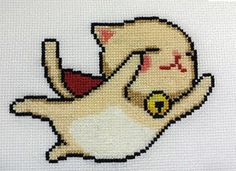 Super Flying Kitty cross stitch by starrley on deviantART