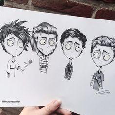 the boys Tim Burton style, credit to the artist who did an amazing job Tim Burton Drawings Style, Tim Burton Art Style, 5sos Drawing, Fan Drawing, 5sos Fan Art, Desenhos Tim Burton, Art Sketches, Art Drawings, Summer Tattoo
