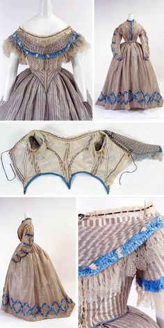 Dress, U.K., 1860. Three pieces (skirt, daytime bodice, evening bodice). Bunka Gakuen Costume Museum