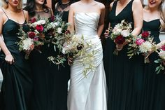 Organic Wedding Bouquets | Miss Gen Photography | Irene Piera Films | Mirror Mirror Bridal Gown | Autumn Wedding at LSO St. Luke's in London | Black Bridesmaid Dresses | JamJar Flowers