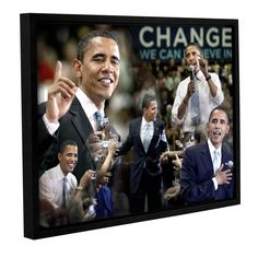 Obama Collage Ii by David Kyle Gallery-Wrapped Floater-Framed Canvas