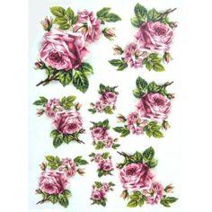 Papír rýžový A4 Růžové růže s poupaty
