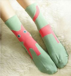 For Cat Person collection vintage sweet cat socks green blue black (16.00 USD) by PurpleFishBowl2