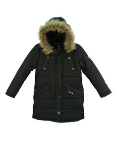 Love this Black Faux Fur Hooded Puffer Coat - Girls by Big Chill on #zulily! #zulilyfinds