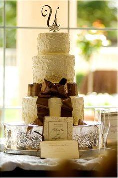 White and chocolate brown asymetrical wedding cake.