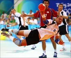 Christian Schwarzer of Germany shoots at goal during the men's handball match between Germany and Korea held at the Olympic Sports Center Gymnasium during Day 2 of the Beijing 2008 Olympic Games on August 10, 2008 in Beijing, China. (August 10, 2008 - Source: Michael Steele/Getty Images AsiaPac)
