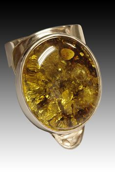 Green Amber sterling silver ring. modernartjewelry.net
