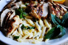 Lemon Basil Pasta with Grilled Chicken