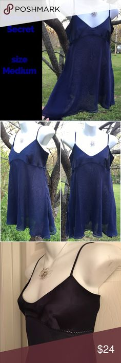 Victoria's Secret  Dark Blue Chemise  Negligée Beautiful VS nightie / negligée / Chemise / babydoll in a beautiful dark blue color, size medium. Features an opaque matte Satin bust with a double layer of flowy sheer polyester. Excellent condition but one of straps has loosened and needs to be respected with a couple of stitches - easy fix. Otherwise no flaws to note. Adjustable straps.  OFFERS WELCOME. Victoria's Secret Intimates & Sleepwear Chemises & Slips