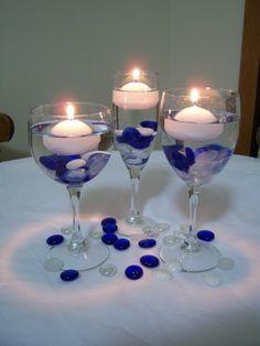 Kerzen in Gläser Hochzeitsdeko Idee
