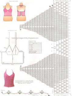 Schemes of knitting crochet bodice .many diagrams for many tops. Débardeurs Au Crochet, Mode Crochet, Crochet Shirt, Crochet Diagram, Crochet Woman, Crochet Lingerie, Bikinis Crochet, Crochet Bikini Top, Crochet Designs