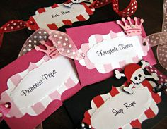 Princess and Pirate Party Food Labels  Set of 10 by ScrapYourStory