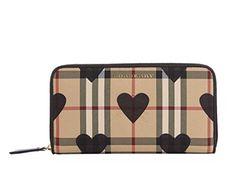 [バーバリー] Burberry Elmore Horseferry Check レディース長財布 And Hearts BLACK Zip-Around Wallet 小銭入 LUXYPOP
