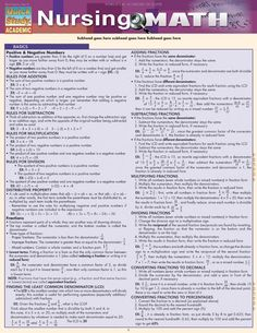 Absolute must guide for all nurses and nursing students - Nursing Math. This 6 page guide takes the mystery out of the different areas of math that are crucial Nursing Math, Nursing School Notes, Nursing Career, Nursing Tips, Nursing Students, Nursing Schools, Nursing Programs, Lpn Programs, Certificate Programs
