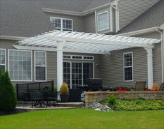 "Pergola Pictures | 14 x 20 Custom Vinyl Wall Mount Pergola shown with 8"" Square Columns ..."