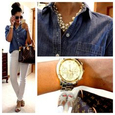 Joe Fresh Denim Jegging via JCP (in white), heels via Kohl's, Forever 21 pearl necklace, NY watch, louis vuitton purse, Target aviators