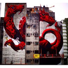 "Collab Lean Frizzera + Spok - ""Hydra""- Buenos Aires, Argentina - Nov 2014 #streetart #mural"