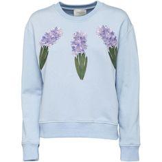 3D Hyacinths Embroidered Sweatshirt   Moda Operandi (7 185 UAH) via Polyvore featuring tops, hoodies и sweatshirts