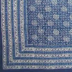 India Arts Handmade 100/% Cotton Floral Buti Print Tapestry Coverlet Tablecloth Dorm Decor Beach Sheet Blue Full