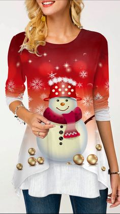Special festivals require special clothes to celebrate. Red Fashion, Womens Fashion, Trendy Tops For Women, Stripe Print, Shirt Style, Casual Outfits, Christmas Blouses, Christmas Tops, Christmas Snowman