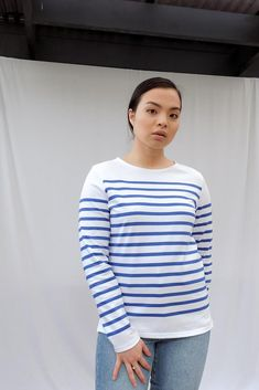 Naval Femme Breton Striped Cotton Jersey Top Breton Top, Saint James, Size Model, Blue Stripes, Blue And White, Denim, How To Wear, Cotton, Tops