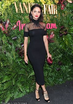 Stunning: Mexican actress Eiza Gonzalez showed off her stunning figure in a hip hugging black dress with a high neck