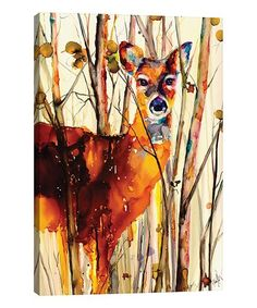 This Art by Leslie Franklin Oh Deer II Wrapped Canvas is perfect! #zulilyfinds Deer Decor, Oh Deer, Wrapped Canvas, Moose Art, Watercolor, Artist, Animals, Eye, Space