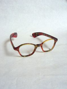 1950s Red tartan lucite spectacle frames by Veramode on Etsy, £54.00