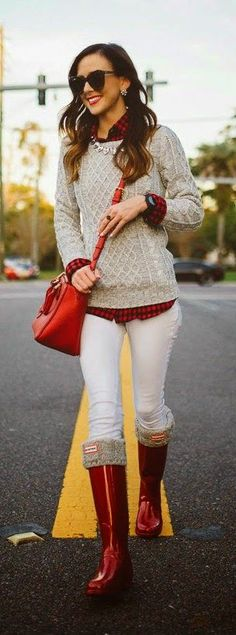 Red Hunter Boots with Grey Knit Sweater by Sequins and Things