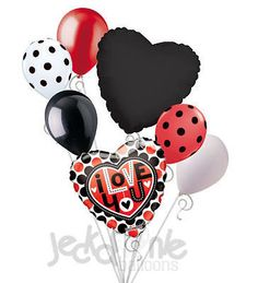 7 pc Red & Black Dots I Love You Heart Valentines Day Balloon Bouquet Be Mine