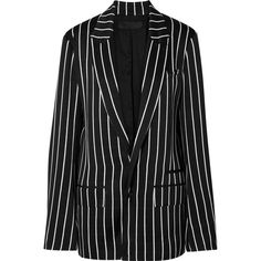 Haider Ackermann Striped satin blazer ($1,655) ❤ liked on Polyvore featuring outerwear, jackets, blazers, blazer, casacos, suiting, long sleeve jacket, satin cami, long sleeve blazer and long sleeve camisole