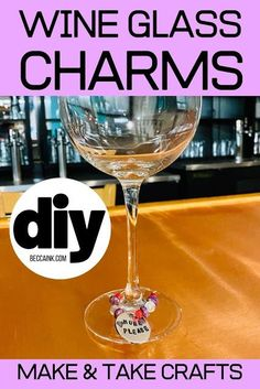 Looking for a fun make and take craft project for your women's craft night? These DIY wine glass charms are a fun adult craft for every skill level! Fun Easy Crafts, Crafts To Make And Sell, Craft Stick Crafts, How To Make, Adult Crafts, Easter Crafts For Kids, Cute Diy Projects, Weekend Crafts, Art Night
