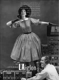 1956 Suzy Parker in nylon and cotton check full-skirted dress by L'Aiglon, hat by John Frederics, Vogue