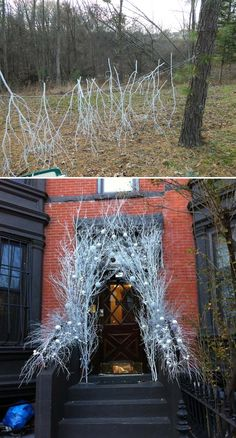 20 Spray Painted Decorations for Christmas Will Save You Money Spray Paint The Branches into White Color and Stack Them into an Arch to Dress up Your Front Door. Winter Wonderland Decorations, Winter Wonderland Theme, Winter Theme, Outdoor Wedding Decorations, Outdoor Christmas Decorations, Christmas Projects, Christmas Diy, Christmas 2017, Christmas Christmas