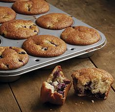 Good-For-You Blueberry Muffins: Applesauce is the secret that keeps these muffins tender and moist.