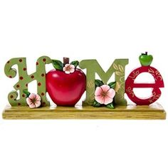"""Bright apples, blossoms, polka dots and leaf designs make this pretty decor accent a charming addition to any room, and a wonderful housewarming or """"just because"""" gift for someone special Apple Kitchen Decor, Red Kitchen, Kitchen Themes, Apple Art, Red Apple, Apple Gifts, Apple Decorations, Apple Theme, Little Red Hen"""