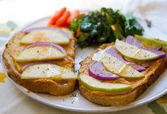 yum lunch: sweet potato hummus, green apple, red onion tartine. #vegan