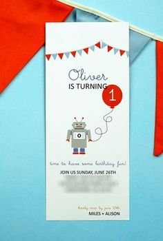 Robot Invitation created for nephew's first birthday