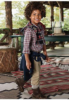 Ralph Lauren Childrenswear Blake Tartan Plaid Oxford  amp  Suffield Pant  Toddler Boys  belk   3b15ab87992