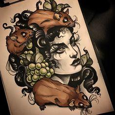 """ถูกใจ 509 คน, ความคิดเห็น 8 รายการ - Ma Reeni (@ma_reeni) บน Instagram: """"for Friday #rat #rats #tattoosketch #sketch #lady #neotraditional #ntgallery #neotradsub #drawing…"""""""