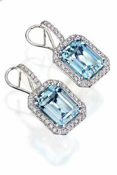 Aquamarine earrings with diamonds.