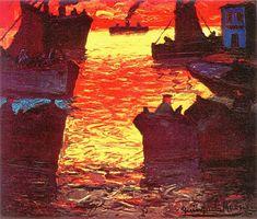 Crepúsculo Dorado - Museo de Bellas Artes de la Boca - Óleos de Benito Quinquela Martín
