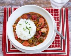 This hearty soup is perfect for chilly fall evenings or an afternoon tailgate party. Our version is veggie heavy with Southern favorites like fiber-rich okra and greens but works just fine if you s…
