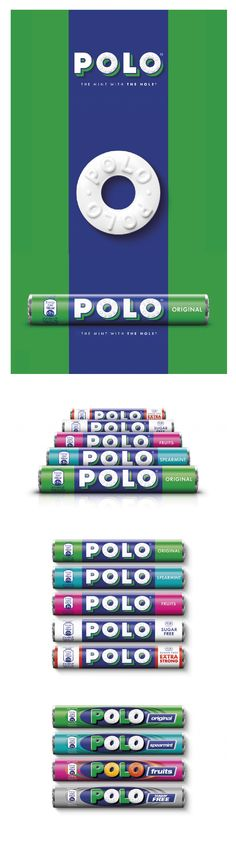 """Polo Rebrand - The new branding has been designed by Taxi Studio, and aims to create a more """"simple, contemporary"""" look for Polo mints and relate more to its heritage. The consultancy worked with illustration studio Bomper and typographer Rob Clarke to redesign the branding and packaging."""