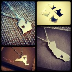State Pendants - Made to Order. $35.00, via Etsy.