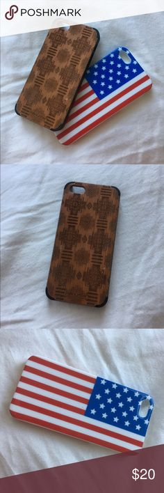 Set of 2 iPhone 5 Cases Both used, but in good condition. Wooden case originally $45, flag case $20. Minimal scratching, zoom in on wooden case. Urban Outfitters Accessories Phone Cases