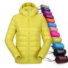 Women Ultra Light Down Jacket Hooded Winter Duck Down Jackets